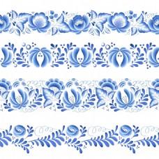 青花瓷中国风底边纹理花型设计