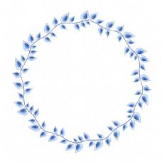青花瓷树叶枝丫中国风典雅花型设计