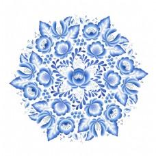 对称青花瓷中国风典雅花型设计