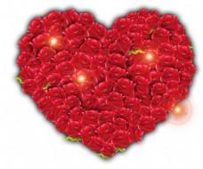 浪漫心形玫瑰花png免扣元素