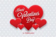红色爱心情人节元素