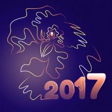 卡通线条2017年新年卡片设计矢量