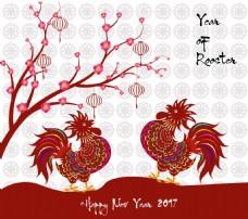 两只公鸡中国传统春节剪纸矢量素材