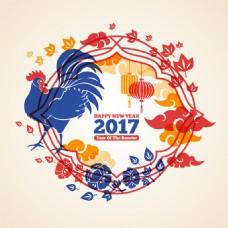2017鸡年新年快乐主题海报矢量素材