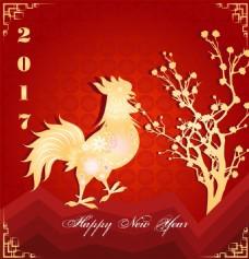金色中国传统春节剪纸矢量素材