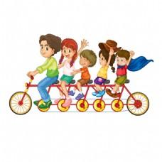 骑自行车出游的一家人png免扣元素