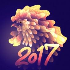 金色创意公鸡2017年新年卡片设计矢量