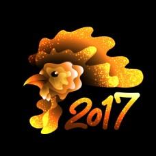 金色公鸡2017年新年卡片设计矢量