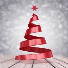 圣诞树红色彩带扭曲设计