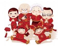 手绘春节全家福元素