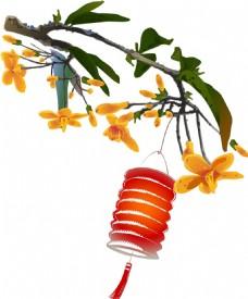水墨画灯笼树枝元素