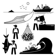 经典黑白圆头小人渔网