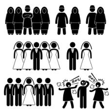 经典黑白圆头小人结婚
