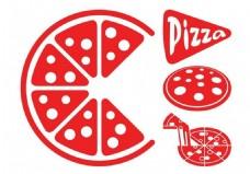 红色披萨矢量素材