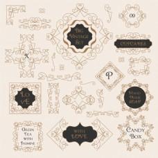 阿拉伯数字复古花纹边框装饰图案矢量