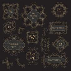 黑色复古花纹边框装饰图案矢量