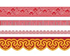 手绘红色花纹元素