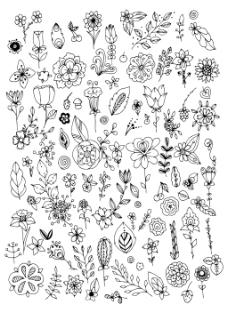 花朵填充树叶桂冠素材