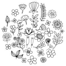 圆心花朵组合树叶桂冠矢量插画