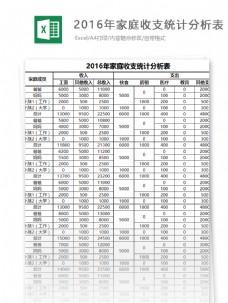 家庭收支统计分析表excel表格模板