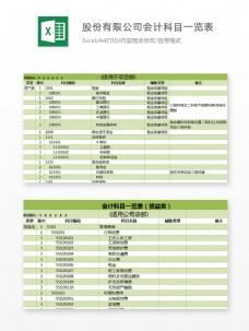 公司会计科目一览表表excel模板表格