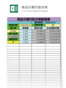 商品分期付款决策excel模板表格