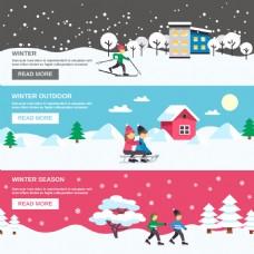 冬天户外运动的人物插画