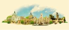 水彩绘复古城市建筑