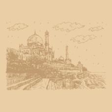 手绘复古城堡插画