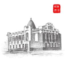 复古时尚建筑插画