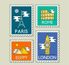 4款创意世界旅行邮票矢量