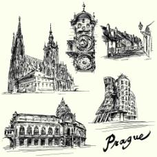 钢笔手绘建筑插画