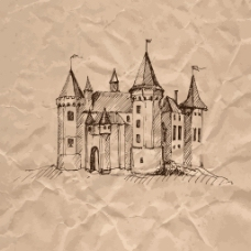 牛皮纸上手绘城堡插画