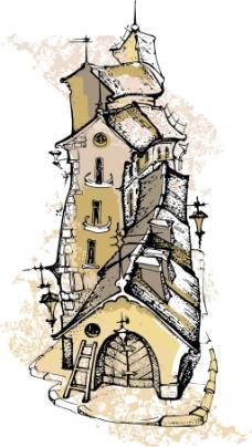 复古手绘建筑插画