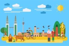 创意泰国旅行插画