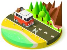 扁平风景旅行插画