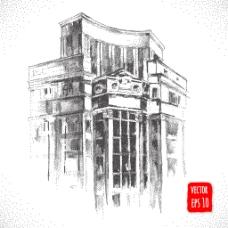 复古建筑一角插画