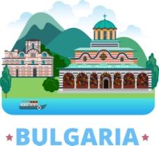 保加利亚特色建筑插画