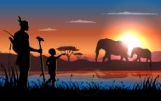 夕阳下的非洲动物插画