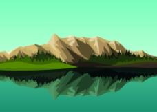 湖边的山峰风景插画