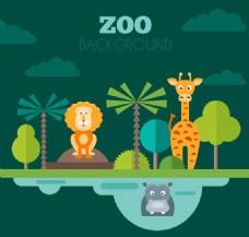 3只扁平化动物园动物矢量