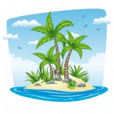 夏天海岛上的椰树插画