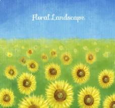 水彩绘向日葵花丛矢量