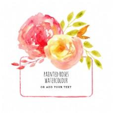 水彩玫瑰花框架矢量