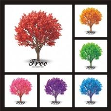 彩色时尚大树插画