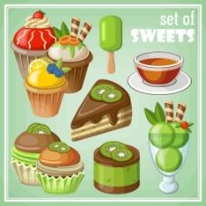 猕猴桃甜品插画