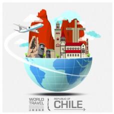 创意智利旅行建筑插画