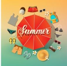 时尚夏天度假用品插画
