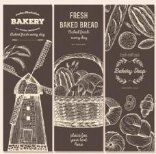 手绘烘焙面包插画