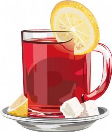 美味的柠檬红茶插画